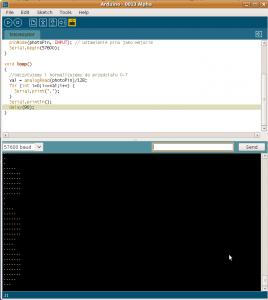 Arduino IDE w trakcie pracy naszego programu