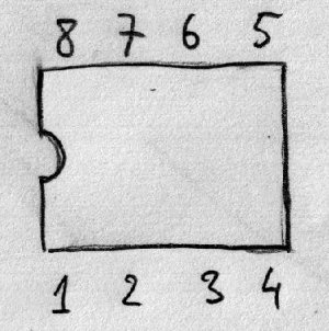 Numeracja wyprowadzeń (patrząc od góry)