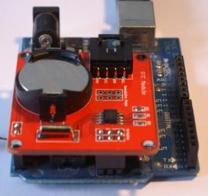 Moduł DS1307 założony na Arduino