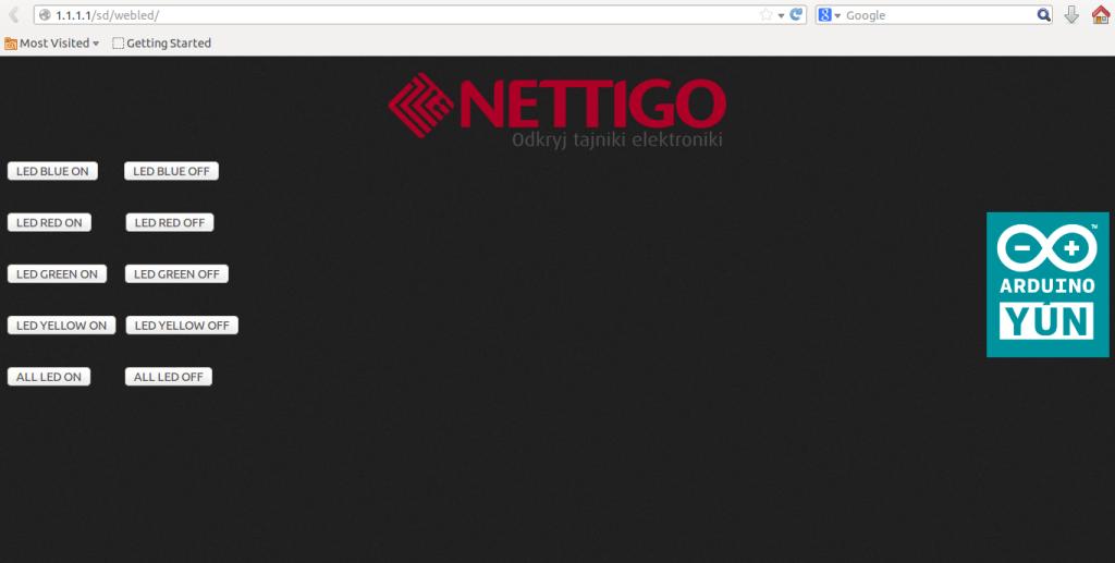 Widok na stronę html przez którą będziemy sterować LEDami