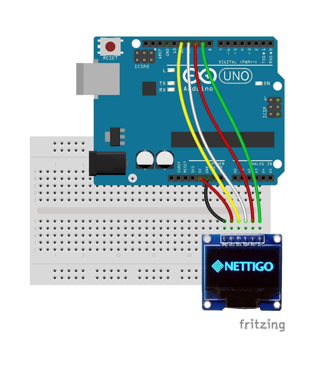 Wyświetlacz z ssd podłączony do arduino starter kit